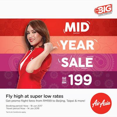 AirAsia KL - Taipei / Beijing RM199 Booking Until 18 June 2017