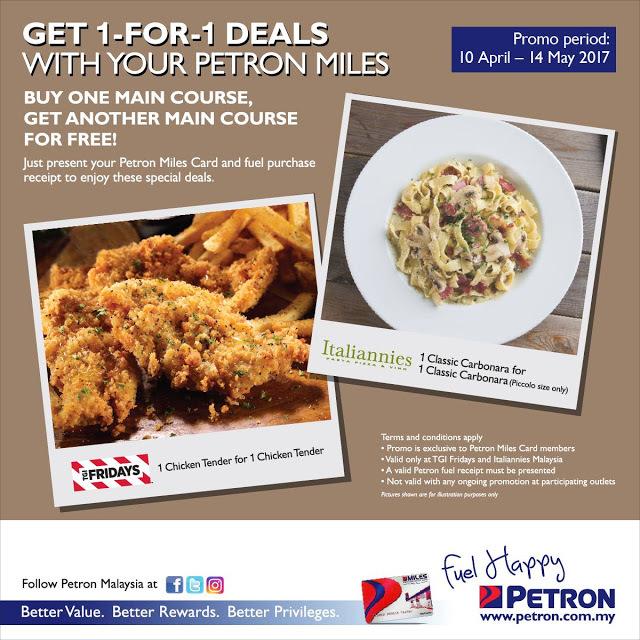 TGI Fridays Italiannies Malaysia Buy 1 Free 1 Promo