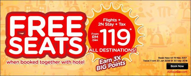AirAsiaGo Hotel Deals AirAsia Free Seats Promo